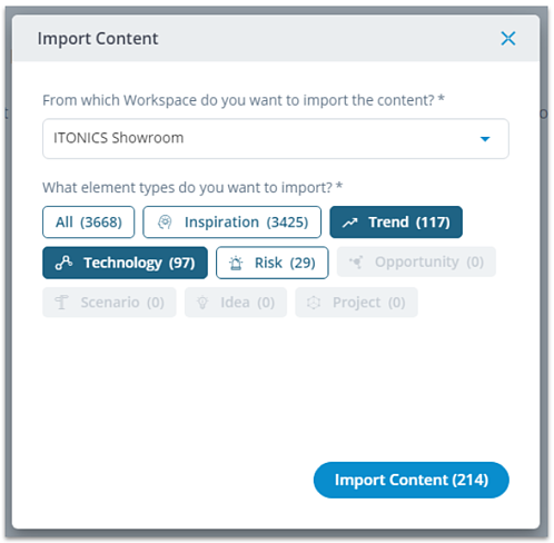 Import content to workspace