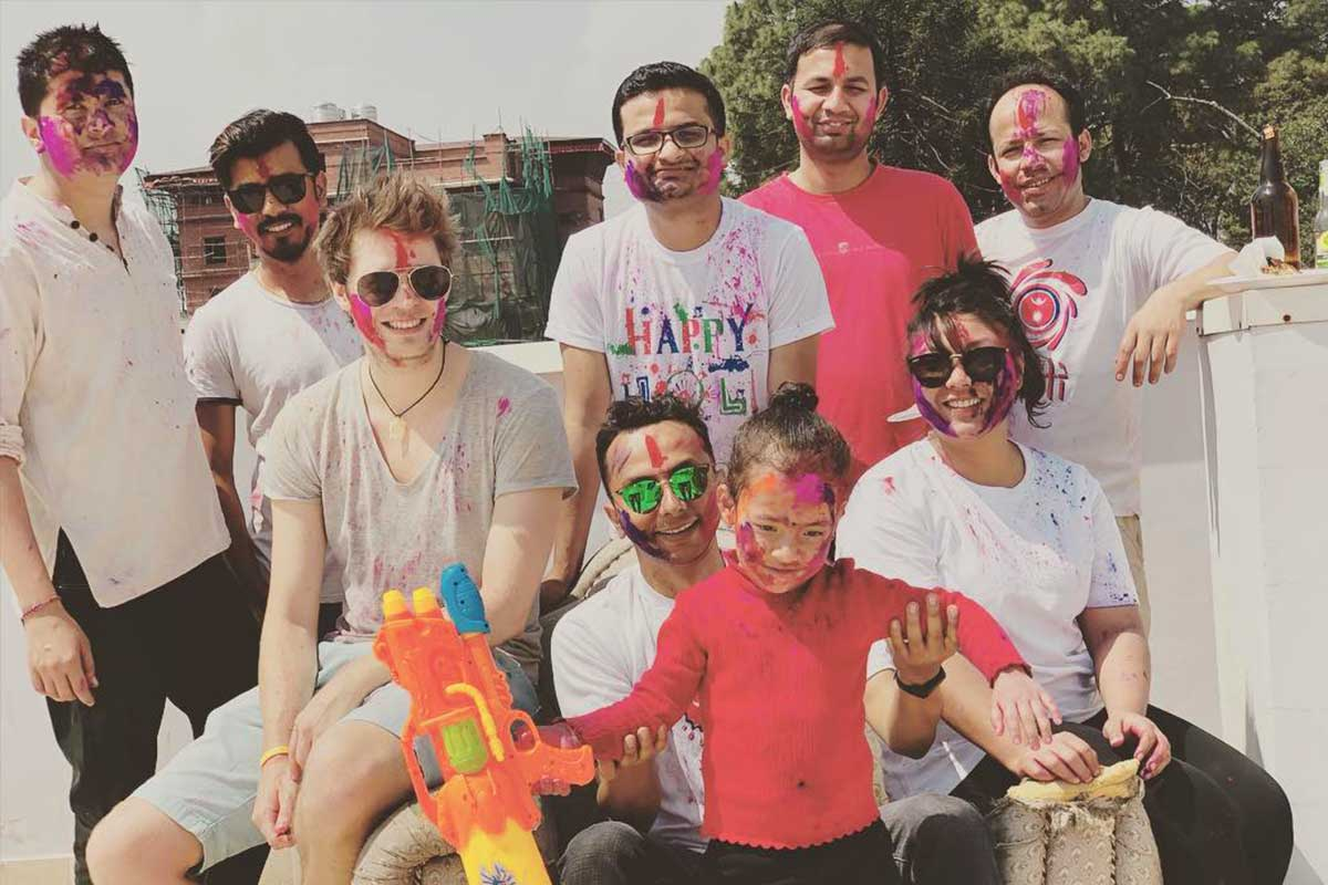 ITONICS Colleagues celebrating the Holi Festival in Nepal