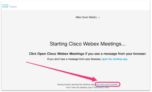 Start Cisco WebEx meeting