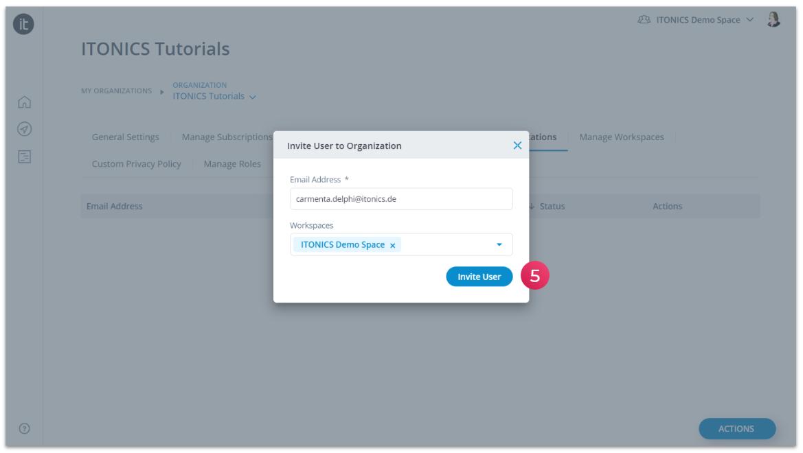 Invite user to organization